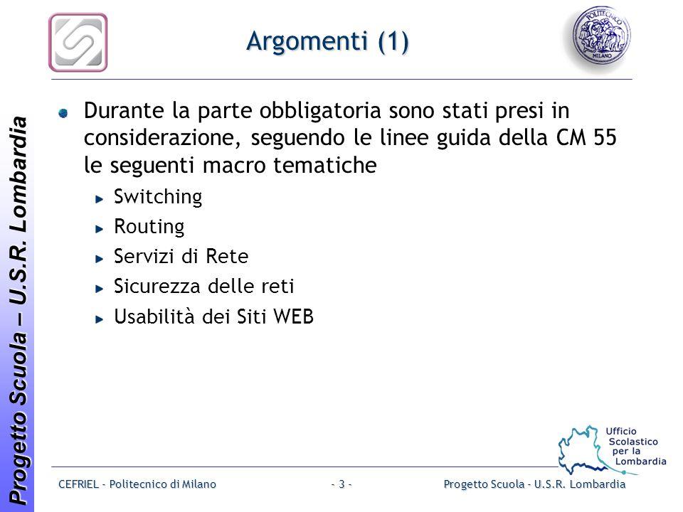 Progetto Scuola – U.S.R. Lombardia CEFRIEL - Politecnico di MilanoProgetto Scuola - U.S.R.
