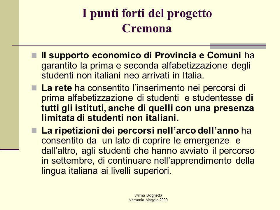Wilma Boghetta Verbania Maggio 2009 I punti forti del progetto Cremona Il supporto economico di Provincia e Comuni ha garantito la prima e seconda alf