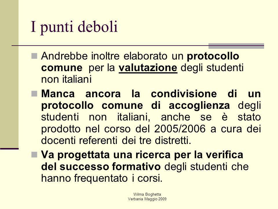 Wilma Boghetta Verbania Maggio 2009 Andrebbe inoltre elaborato un protocollo comune per la valutazione degli studenti non italiani Manca ancora la con