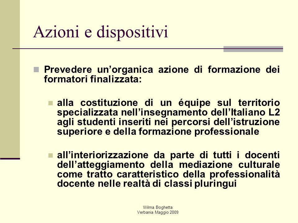 Wilma Boghetta Verbania Maggio 2009 Prevedere unorganica azione di formazione dei formatori finalizzata: alla costituzione di un équipe sul territorio