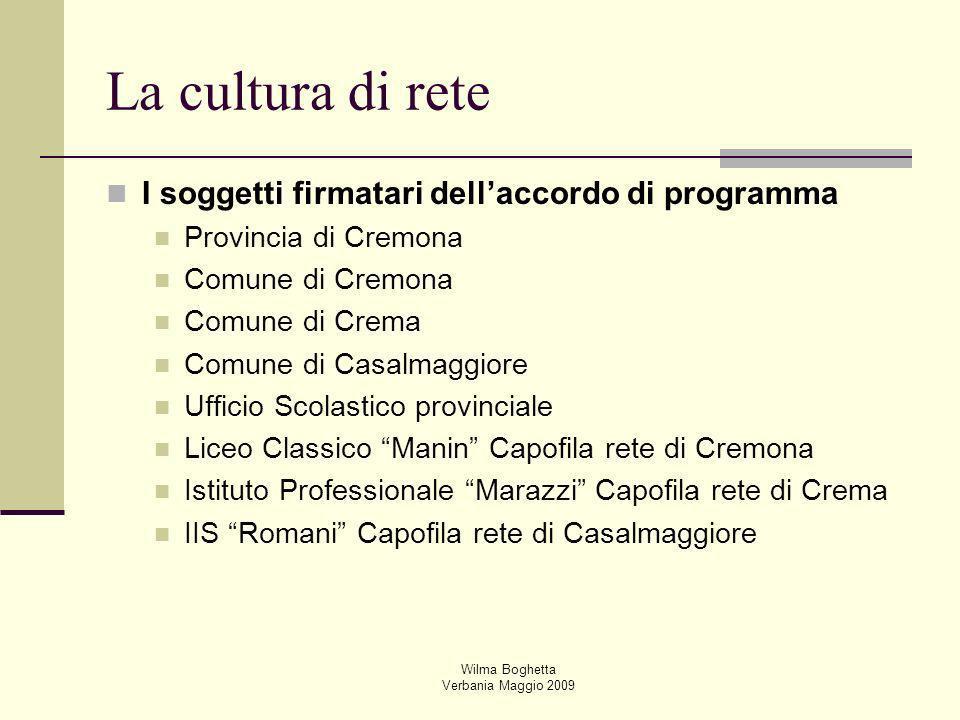 Wilma Boghetta Verbania Maggio 2009 La cultura di rete I soggetti firmatari dellaccordo di programma Provincia di Cremona Comune di Cremona Comune di