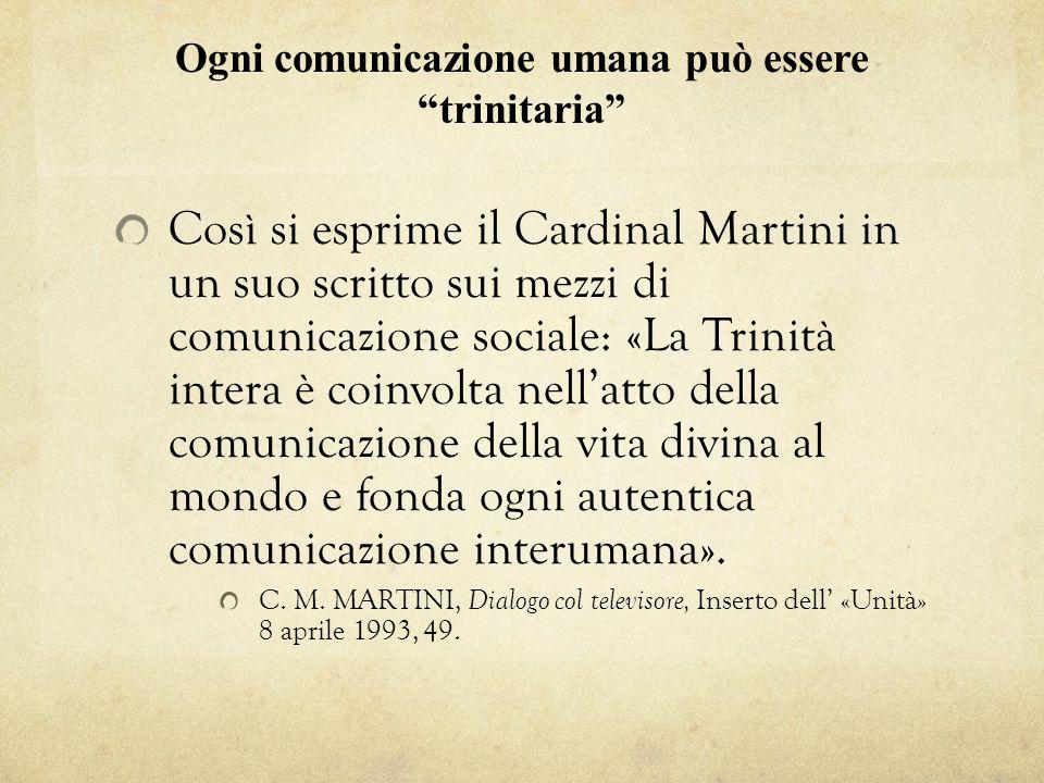 Ogni comunicazione umana può essere trinitaria Così si esprime il Cardinal Martini in un suo scritto sui mezzi di comunicazione sociale: «La Trinità i