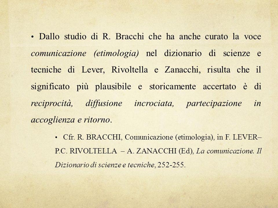 Dallo studio di R. Bracchi che ha anche curato la voce comunicazione (etimologia) nel dizionario di scienze e tecniche di Lever, Rivoltella e Zanacchi