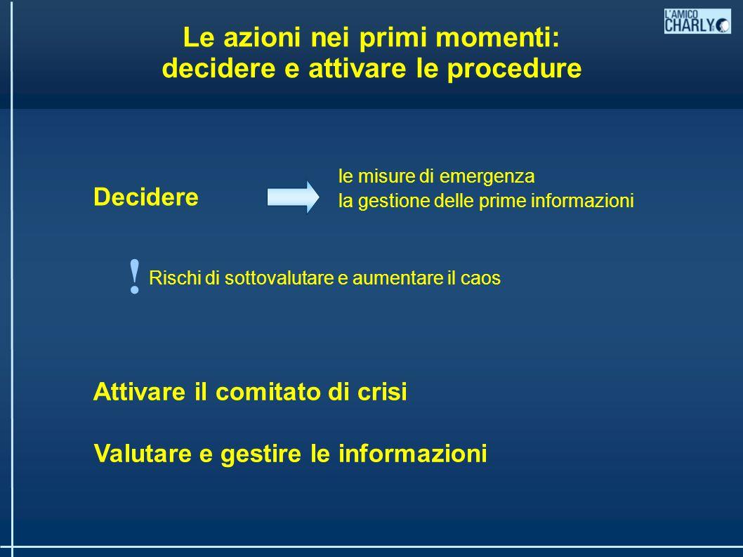 Le azioni nei primi momenti: decidere e attivare le procedure Decidere Attivare il comitato di crisi Valutare e gestire le informazioni Rischi di sottovalutare e aumentare il caos .