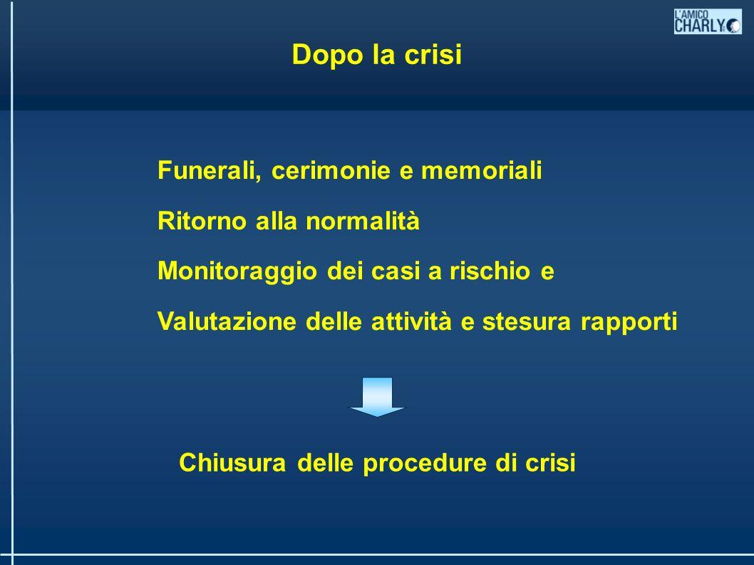 Dopo la crisi Funerali, cerimonie e memoriali Ritorno alla normalità Monitoraggio dei casi a rischio e Valutazione delle attività e stesura rapporti Chiusura delle procedure di crisi