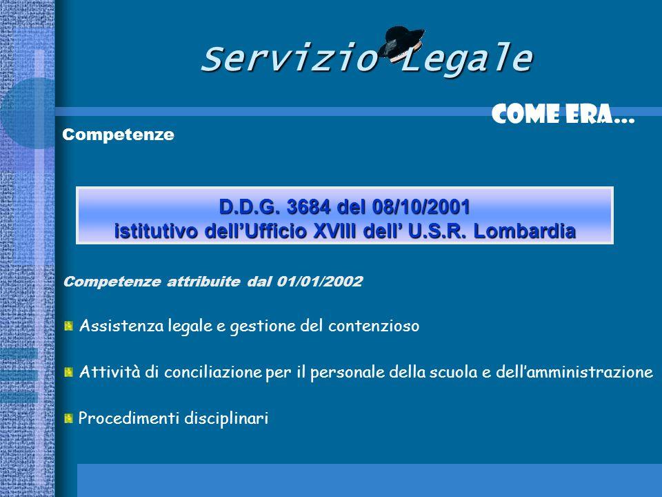 Servizio Legale Come era… Competenze Competenze attribuite dal 01/01/2002 Assistenza legale e gestione del contenzioso Attività di conciliazione per il personale della scuola e dellamministrazione Procedimenti disciplinari D.D.G.