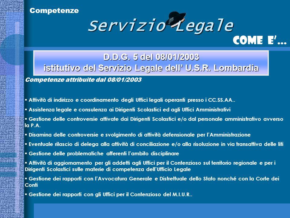 Servizio Legale Come e… Competenze D.D.G.