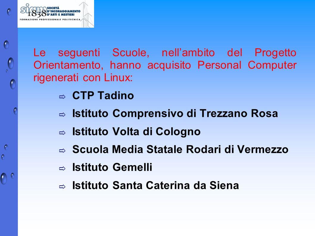 Le seguenti Scuole, nellambito del Progetto Orientamento, hanno acquisito Personal Computer rigenerati con Linux: CTP Tadino Istituto Comprensivo di T