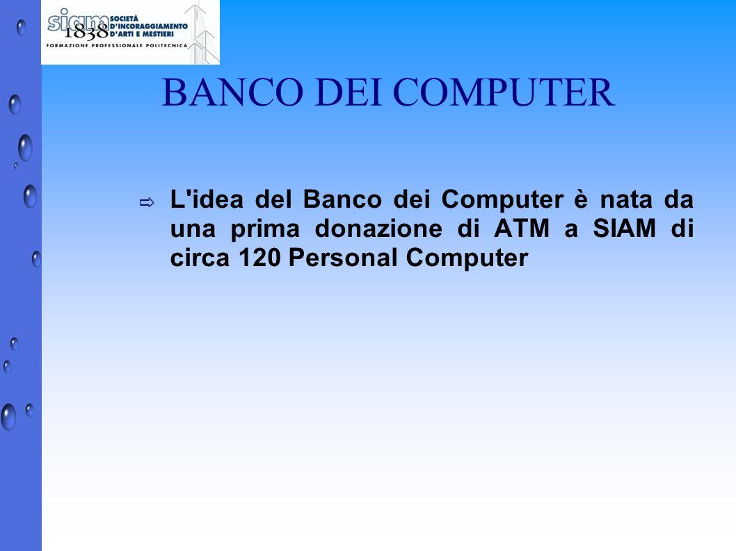 BANCO DEI COMPUTER L'idea del Banco dei Computer è nata da una prima donazione di ATM a SIAM di circa 120 Personal Computer