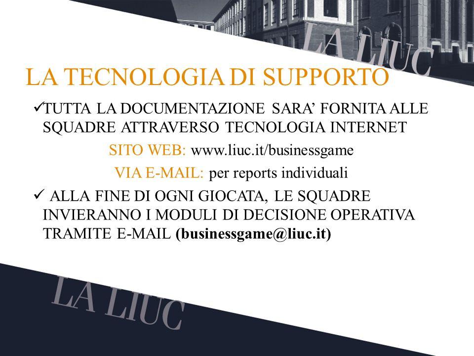 Testo TITOLO LA TECNOLOGIA DI SUPPORTO TUTTA LA DOCUMENTAZIONE SARA FORNITA ALLE SQUADRE ATTRAVERSO TECNOLOGIA INTERNET SITO WEB: www.liuc.it/business