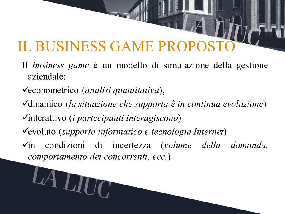 Testo TITOLO IL BUSINESS GAME PROPOSTO Il business game è un modello di simulazione della gestione aziendale: econometrico (analisi quantitativa), din
