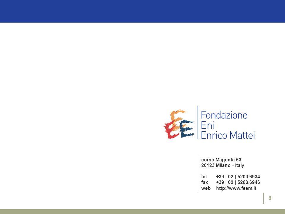 8 corso Magenta 63 20123 Milano - Italy tel+39 | 02 | 5203.6934 fax+39 | 02 | 5203.6946 webhttp://www.feem.it