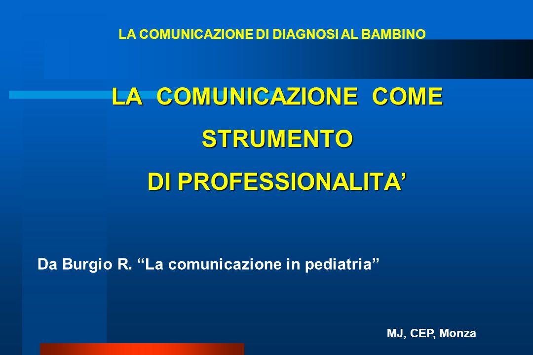 LA COMUNICAZIONE COME STRUMENTO DI PROFESSIONALITA Da Burgio R. La comunicazione in pediatria LA COMUNICAZIONE DI DIAGNOSI AL BAMBINO MJ, CEP, Monza