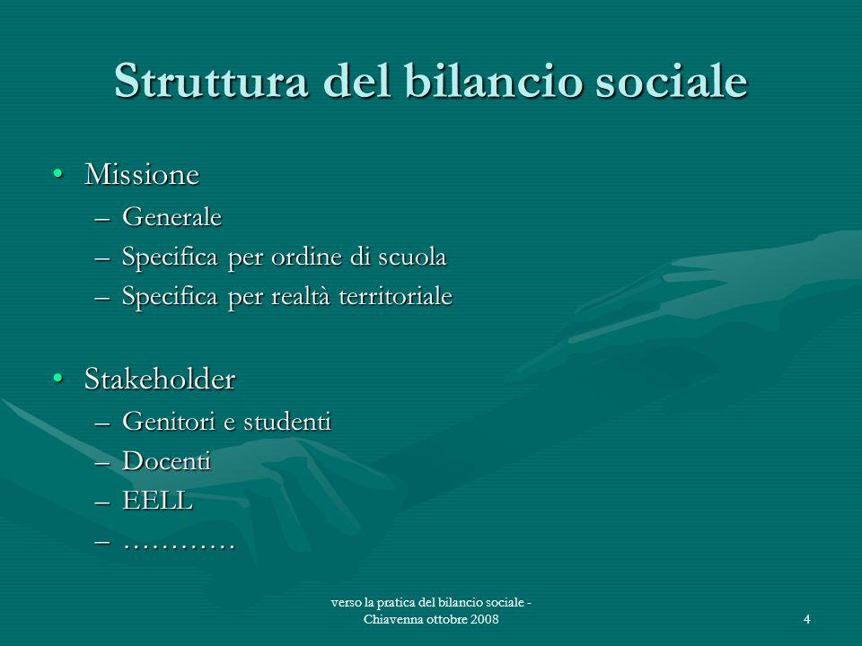 verso la pratica del bilancio sociale - Chiavenna ottobre 20084 Struttura del bilancio sociale MissioneMissione –Generale –Specifica per ordine di scu