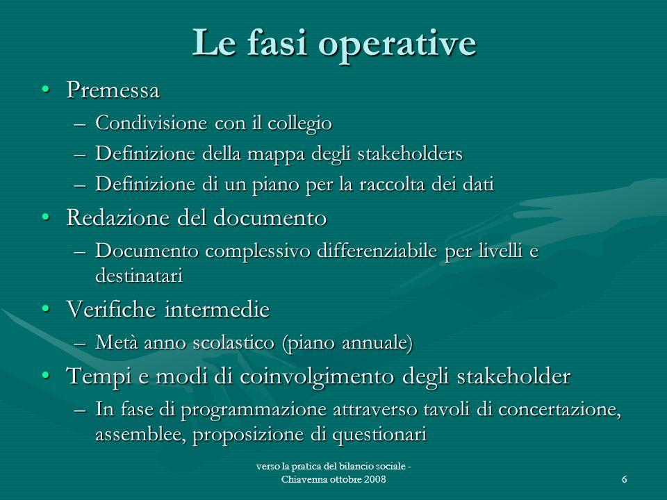 verso la pratica del bilancio sociale - Chiavenna ottobre 20086 Le fasi operative PremessaPremessa –Condivisione con il collegio –Definizione della ma