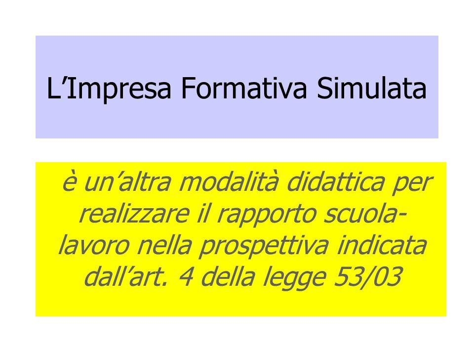 LImpresa Formativa Simulata è unaltra modalità didattica per realizzare il rapporto scuola- lavoro nella prospettiva indicata dallart. 4 della legge 5