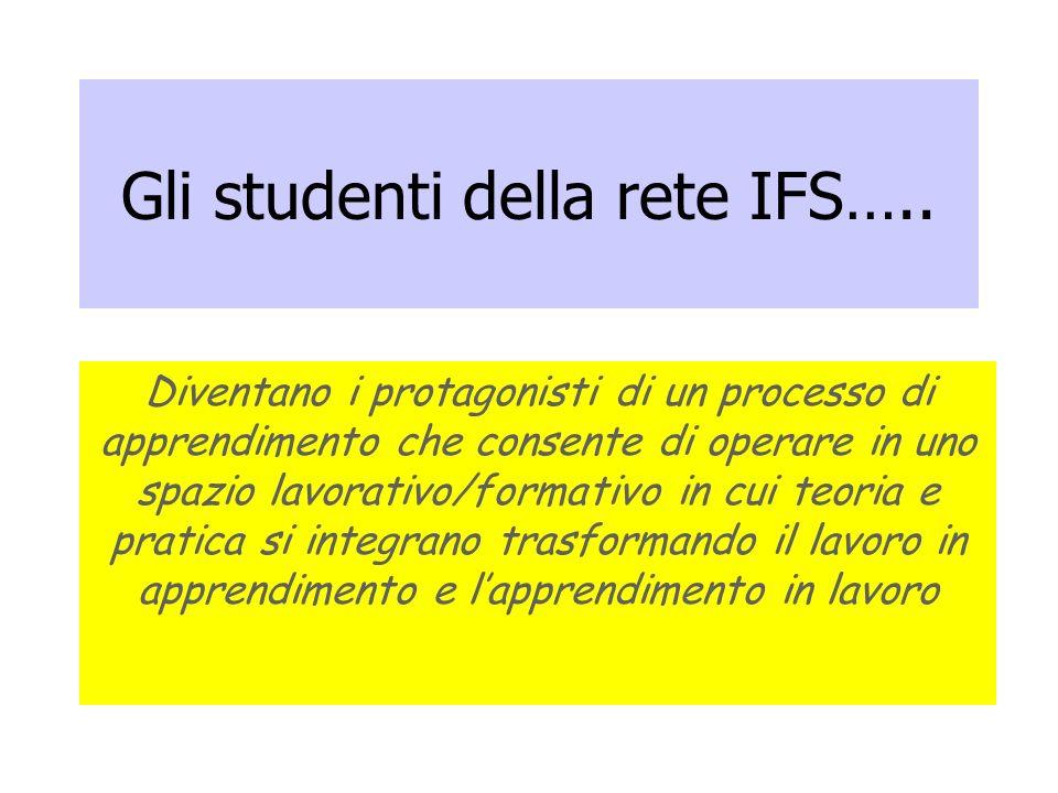 Gli studenti della rete IFS….. Diventano i protagonisti di un processo di apprendimento che consente di operare in uno spazio lavorativo/formativo in