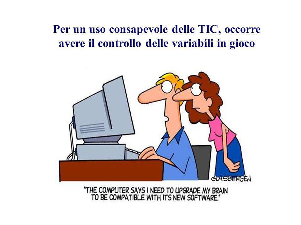Per un uso consapevole delle TIC, occorre avere il controllo delle variabili in gioco