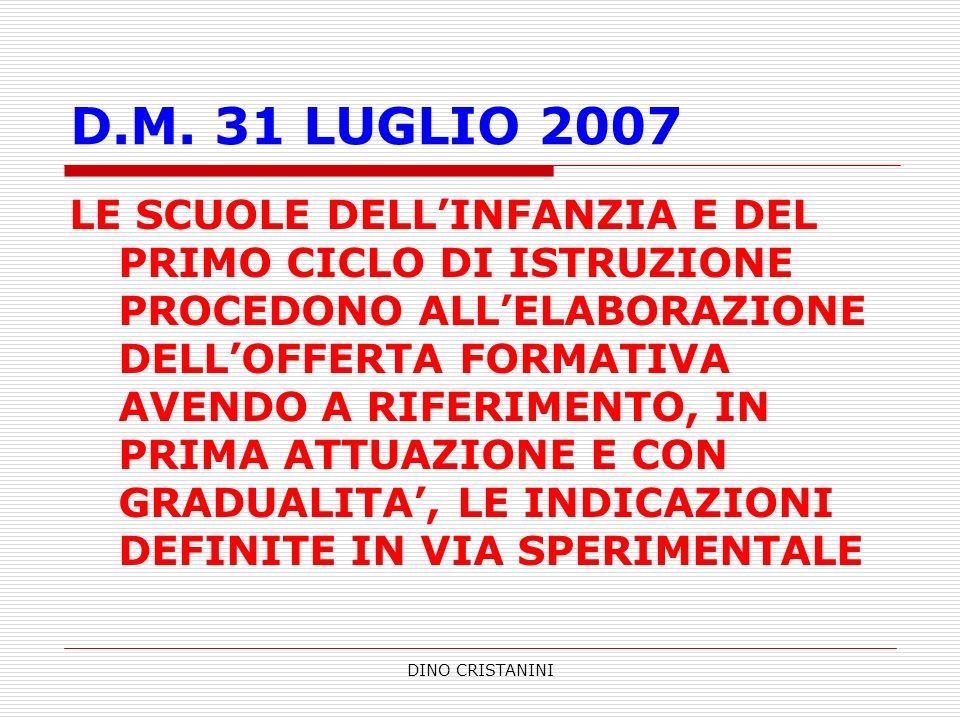 DINO CRISTANINI D.M. 31 LUGLIO 2007 LE SCUOLE DELLINFANZIA E DEL PRIMO CICLO DI ISTRUZIONE PROCEDONO ALLELABORAZIONE DELLOFFERTA FORMATIVA AVENDO A RI