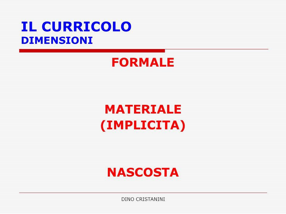 DINO CRISTANINI IL CURRICOLO DIMENSIONI FORMALE MATERIALE (IMPLICITA) NASCOSTA