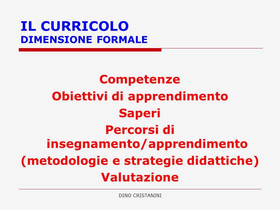 DINO CRISTANINI IL CURRICOLO DIMENSIONE FORMALE Competenze Obiettivi di apprendimento Saperi Percorsi di insegnamento/apprendimento (metodologie e str