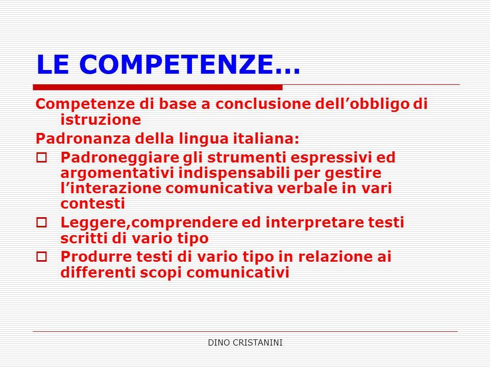 DINO CRISTANINI LE COMPETENZE… Competenze di base a conclusione dellobbligo di istruzione Padronanza della lingua italiana: Padroneggiare gli strument