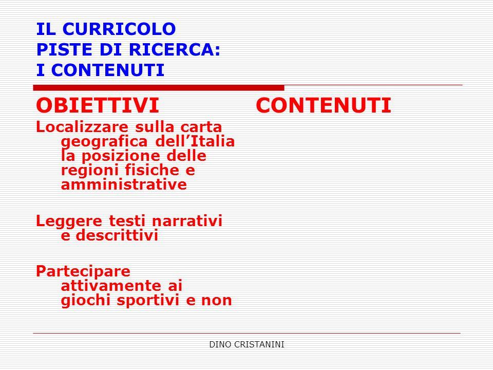 DINO CRISTANINI IL CURRICOLO PISTE DI RICERCA: I CONTENUTI OBIETTIVI Localizzare sulla carta geografica dellItalia la posizione delle regioni fisiche