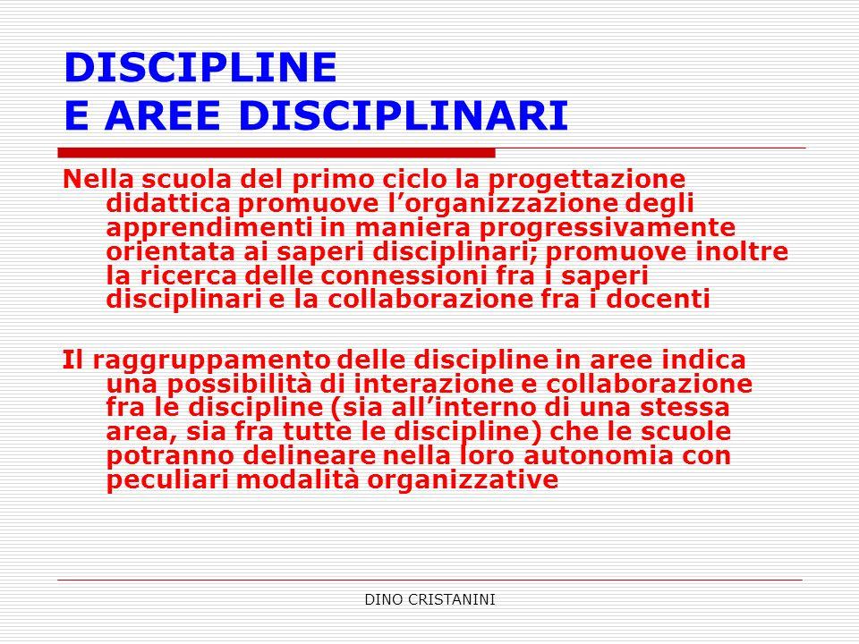 DINO CRISTANINI DISCIPLINE E AREE DISCIPLINARI Nella scuola del primo ciclo la progettazione didattica promuove lorganizzazione degli apprendimenti in