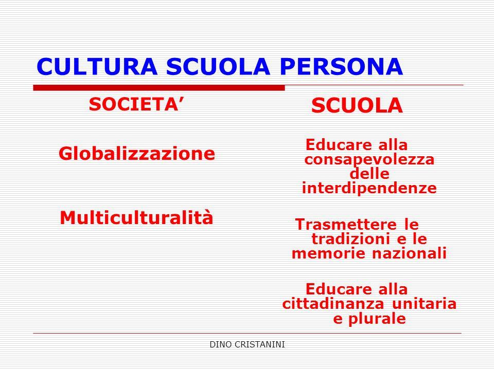 DINO CRISTANINI CULTURA SCUOLA PERSONA SOCIETA Globalizzazione Multiculturalità SCUOLA Educare alla consapevolezza delle interdipendenze Trasmettere l