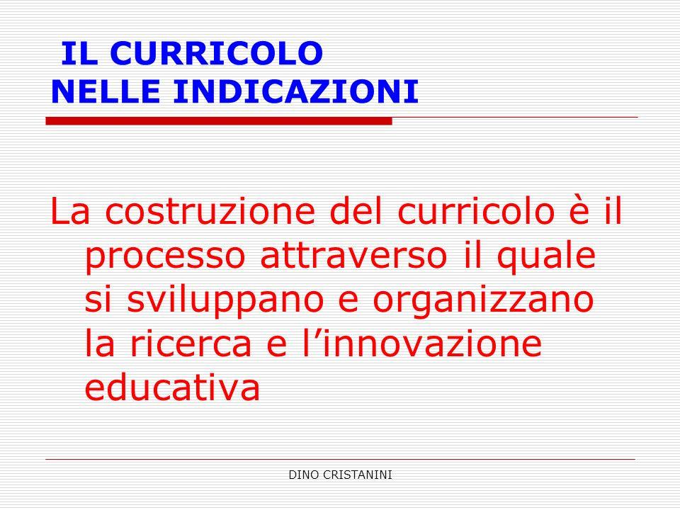 DINO CRISTANINI IL CURRICOLO NELLE INDICAZIONI La costruzione del curricolo è il processo attraverso il quale si sviluppano e organizzano la ricerca e