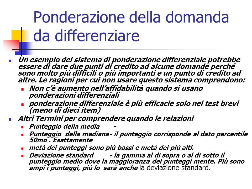 Ponderazione della domanda da differenziare Un esempio del sistema di ponderazione differenziale potrebbe essere di dare due punti di credito ad alcune domande perché sono molto più difficili o più importanti e un punto di credito ad altre.