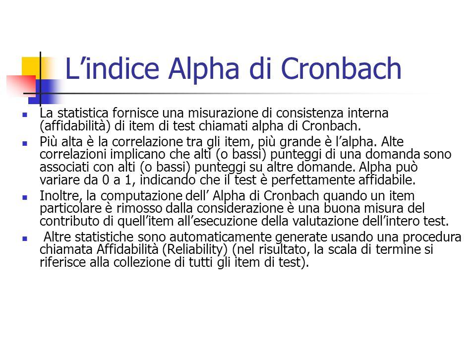 Lindice Alpha di Cronbach La statistica fornisce una misurazione di consistenza interna (affidabilità) di item di test chiamati alpha di Cronbach.