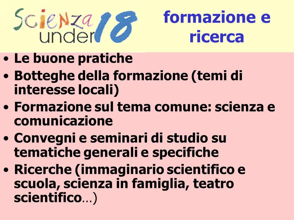 Le buone pratiche Botteghe della formazione (temi di interesse locali) Formazione sul tema comune: scienza e comunicazione Convegni e seminari di stud