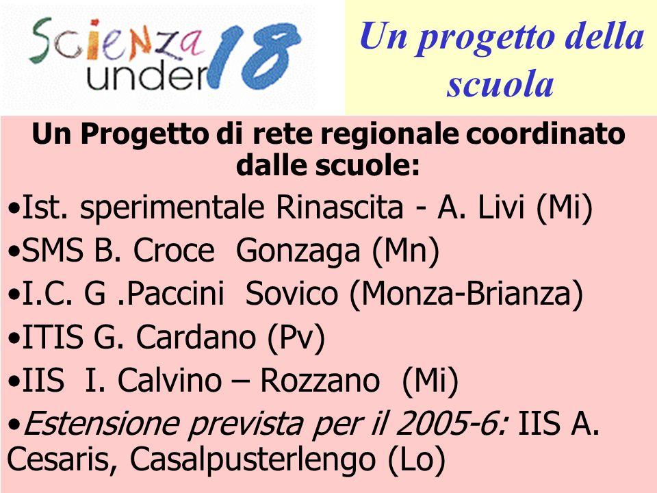 Un Progetto di rete regionale coordinato dalle scuole: Ist. sperimentale Rinascita - A. Livi (Mi) SMS B. Croce Gonzaga (Mn) I.C. G.Paccini Sovico (Mon