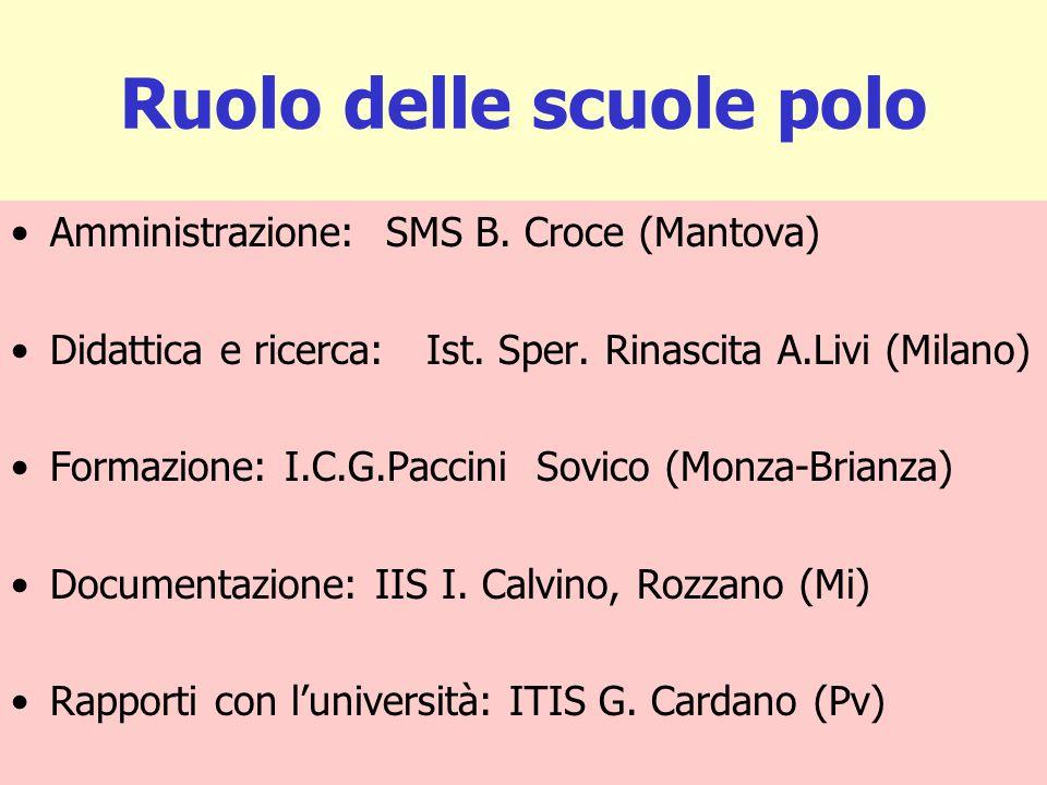 Ruolo delle scuole polo Amministrazione: SMS B. Croce (Mantova) Didattica e ricerca: Ist. Sper. Rinascita A.Livi (Milano) Formazione: I.C.G.Paccini So