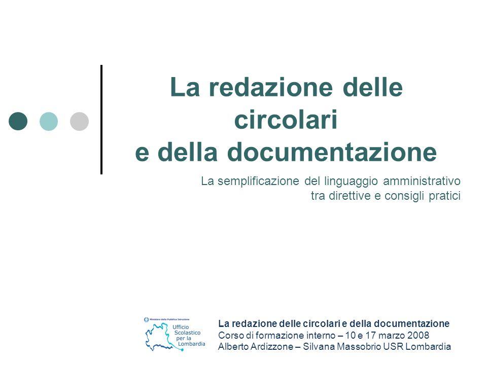 La redazione delle circolari e della documentazione S.