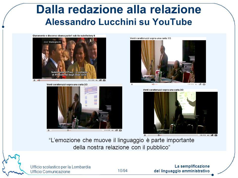 Ufficio scolastico per la Lombardia Ufficio Comunicazione 10/94 La semplificazione del linguaggio amministrativo Dalla redazione alla relazione Alessa