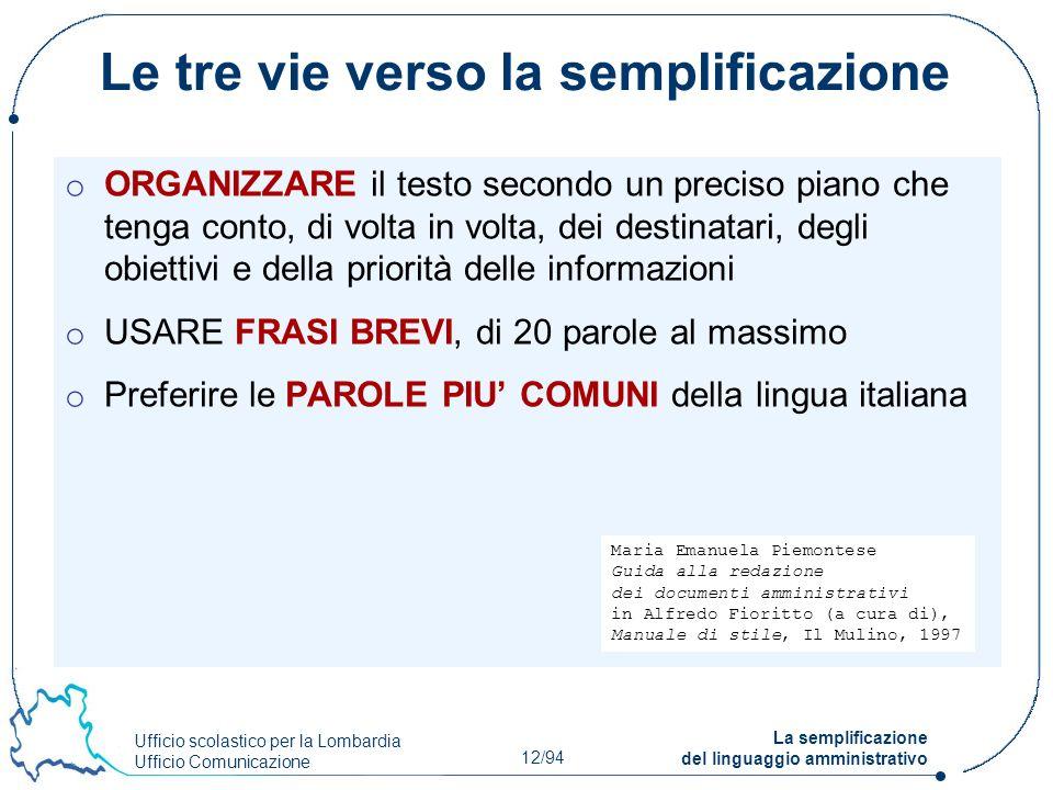 Ufficio scolastico per la Lombardia Ufficio Comunicazione 12/94 La semplificazione del linguaggio amministrativo Le tre vie verso la semplificazione o