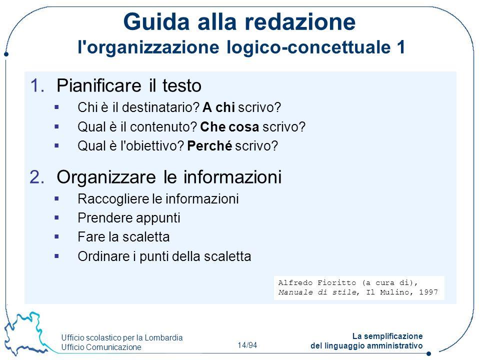 Ufficio scolastico per la Lombardia Ufficio Comunicazione 14/94 La semplificazione del linguaggio amministrativo Guida alla redazione l'organizzazione