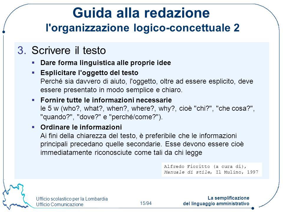Ufficio scolastico per la Lombardia Ufficio Comunicazione 15/94 La semplificazione del linguaggio amministrativo Guida alla redazione l'organizzazione