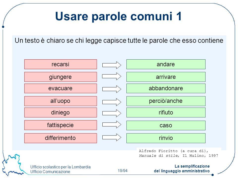 Ufficio scolastico per la Lombardia Ufficio Comunicazione 19/94 La semplificazione del linguaggio amministrativo Usare parole comuni 1 Un testo è chia