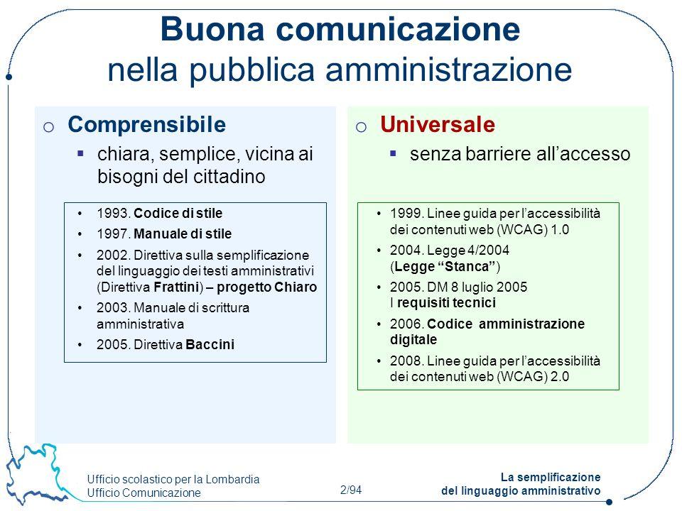 Ufficio scolastico per la Lombardia Ufficio Comunicazione 2/94 La semplificazione del linguaggio amministrativo Buona comunicazione nella pubblica amm