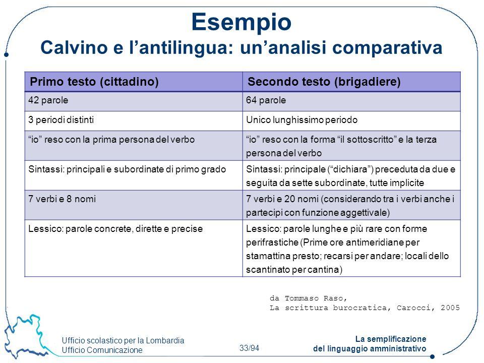 Ufficio scolastico per la Lombardia Ufficio Comunicazione 33/94 La semplificazione del linguaggio amministrativo Esempio Calvino e lantilingua: unanal