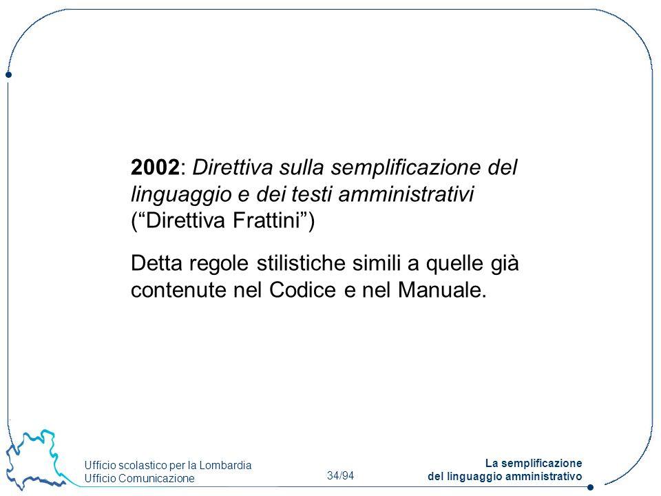 Ufficio scolastico per la Lombardia Ufficio Comunicazione 34/94 La semplificazione del linguaggio amministrativo 2002: Direttiva sulla semplificazione