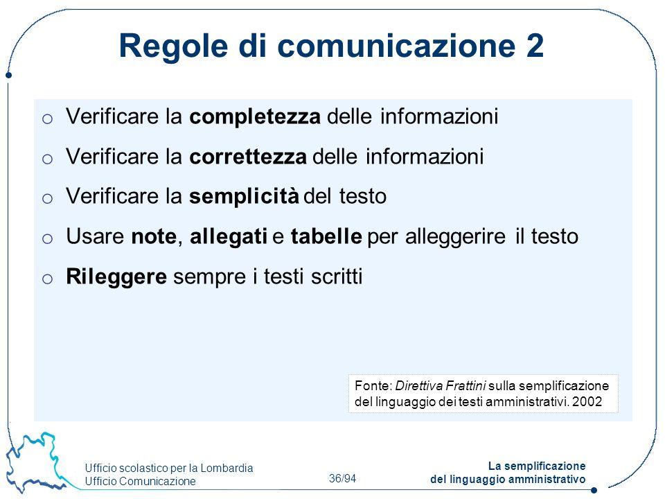 Ufficio scolastico per la Lombardia Ufficio Comunicazione 36/94 La semplificazione del linguaggio amministrativo Regole di comunicazione 2 o Verificar