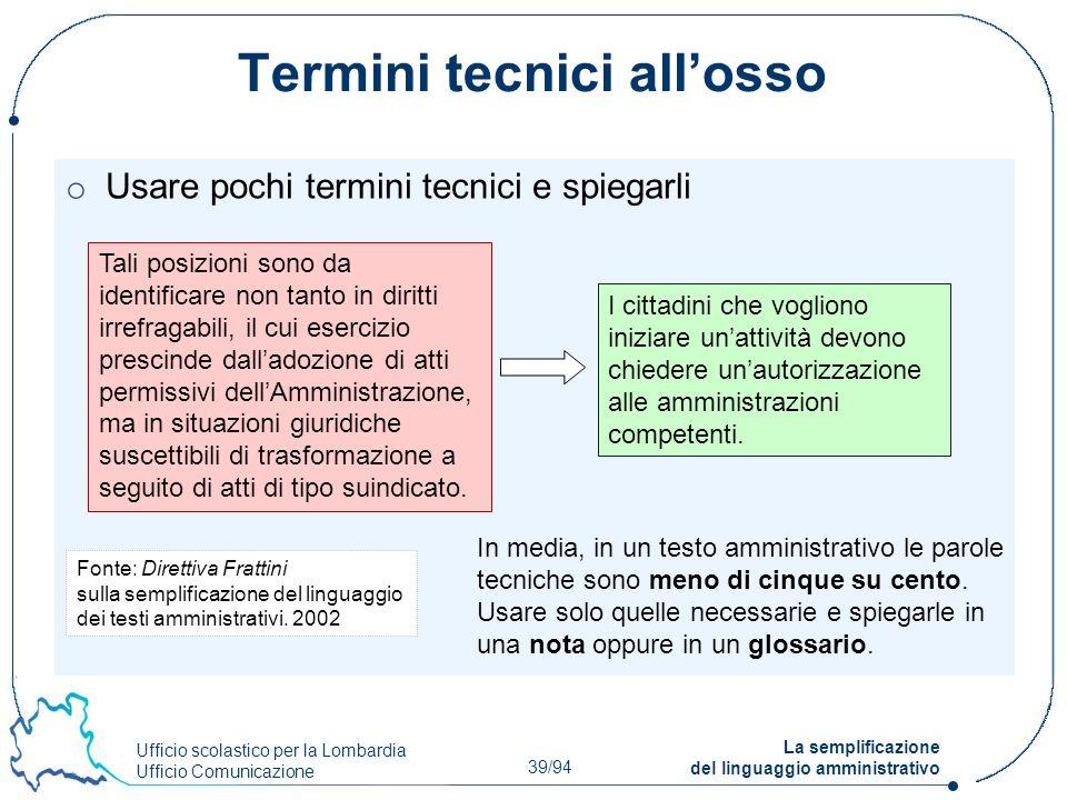 Ufficio scolastico per la Lombardia Ufficio Comunicazione 39/94 La semplificazione del linguaggio amministrativo Termini tecnici allosso o Usare pochi
