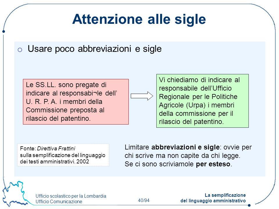 Ufficio scolastico per la Lombardia Ufficio Comunicazione 40/94 La semplificazione del linguaggio amministrativo Attenzione alle sigle o Usare poco ab