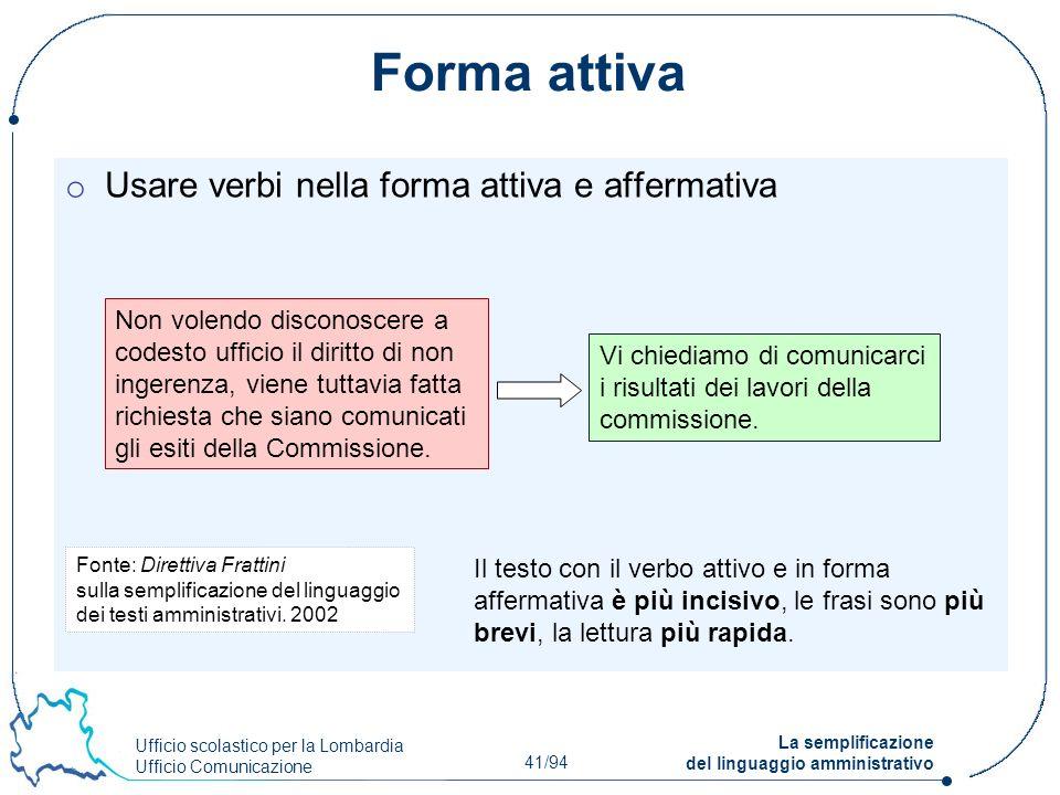Ufficio scolastico per la Lombardia Ufficio Comunicazione 41/94 La semplificazione del linguaggio amministrativo Forma attiva o Usare verbi nella form