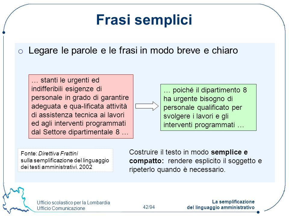 Ufficio scolastico per la Lombardia Ufficio Comunicazione 42/94 La semplificazione del linguaggio amministrativo Frasi semplici o Legare le parole e l