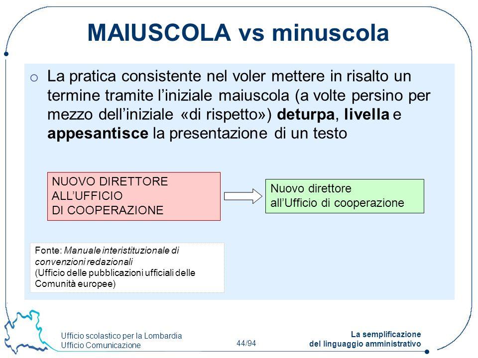 Ufficio scolastico per la Lombardia Ufficio Comunicazione 44/94 La semplificazione del linguaggio amministrativo MAIUSCOLA vs minuscola o La pratica c